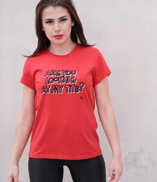 """T-shirt  """"ARE YOU LOOKING"""" Rood"""