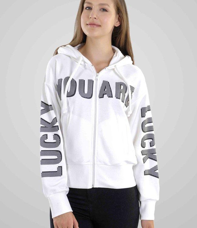 """Hoodie- Vest met rits en print """"YOU ARE LUCKY"""""""