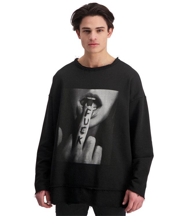 """Sweater- Unisex- """"F*CK YOU"""" - Zwart"""