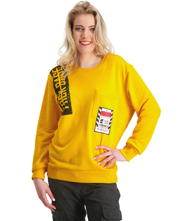 """Dames- Unisex- Sweater NEXT """"Limited Edition"""" Tuscan Geel"""