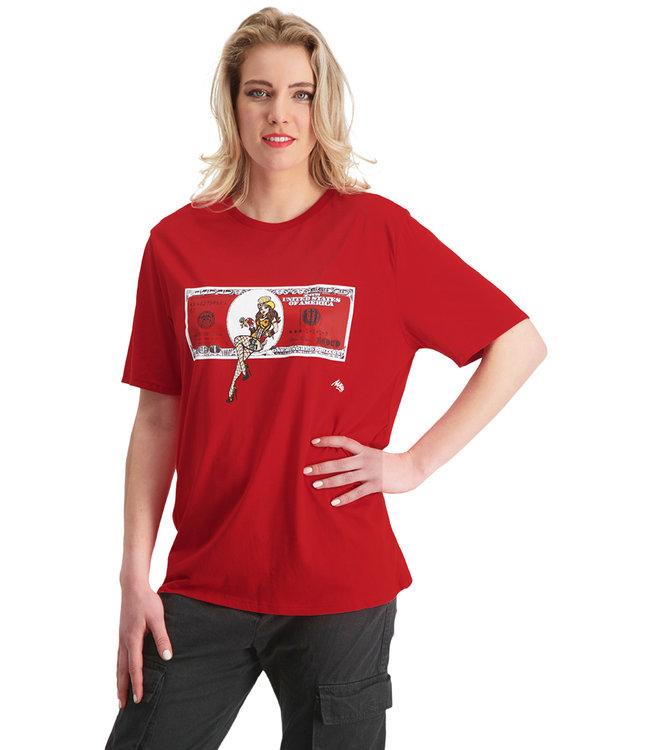 "T-shirt- Unisex  ""DOLLAR"" Rood LARGE FIT"