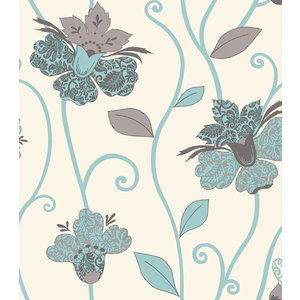 Juvita Behang Juvita Fantasia Beige Blauw Bloemen Behang 6695-25