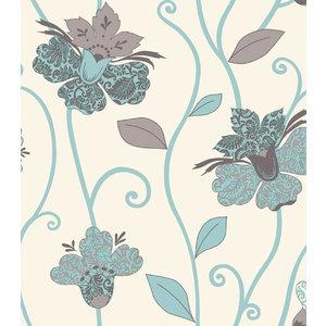 Juvita Behang Vlies Behang | Juvita Fantasia | Beige \ Blauw | Bloemen | 6695-25