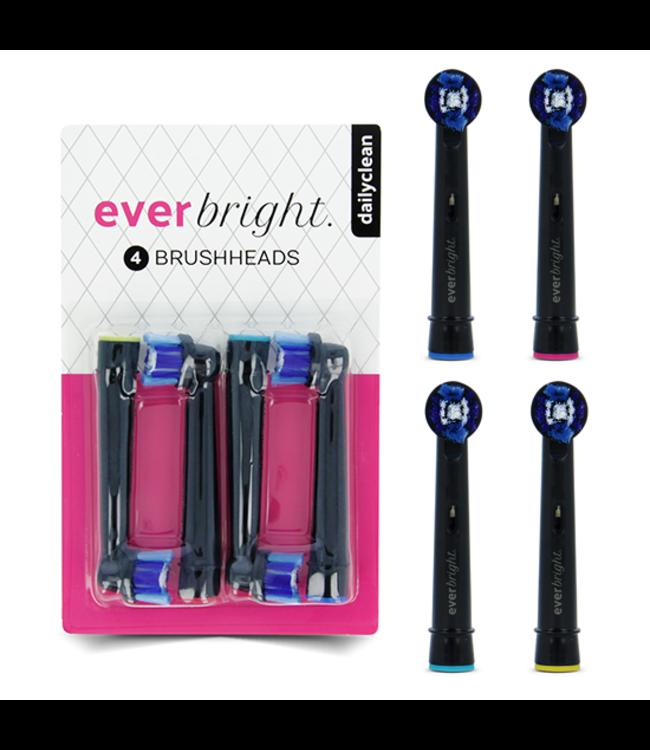 Everbright Everbright DailyClean opzetborstels zwart - 4 stuks
