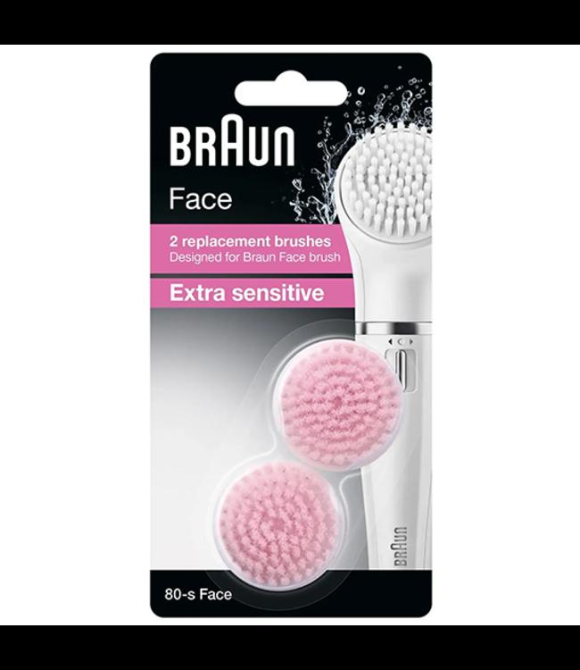 Braun Braun Face 80-s Extra Sensitive vervangende borstelkoppen - 2 stuks