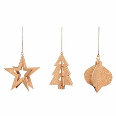 Hubsch cork Christmas ornament-set of 3