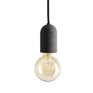 Tove Adman E27 graphite grey concrete light with black textile cord
