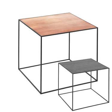 By Lassen Twin 42 table zwarte base met keerbaar blad zwart-koper
