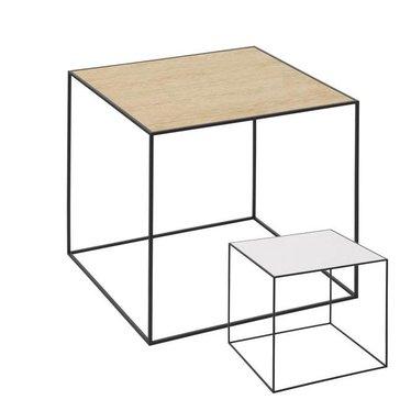 By Lassen Twin 42 table black met keerbaar blad wit-eiken