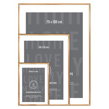 I Love My Type Picture frame for poster, copper 70x100 cm