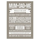 I Love My Type poster Mum+Dad=Me zandgrijs 50x70