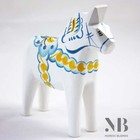 Grannas A. Olsson Dala horse Sverige white-blue-yellow