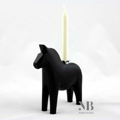 Grannas A. Olsson black Dala horse with candle
