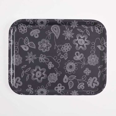 Giarimi Design Feast rectangular tray Pearl Embroidery aubergine