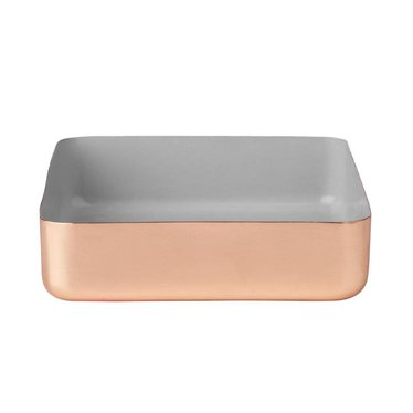 Louise Roe Metal tray vierkant maat L koper-grijs