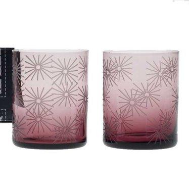 Giarimi Design FEAST glas 'Algerian Embroidery' licht aubergine, 2 stuks