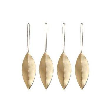 Ferm Living Leaf brass ornament-set of 4