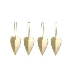 Ferm Living Heart messing ornament-set van 4