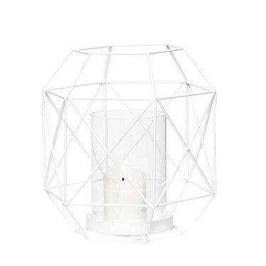 Hubsch Witte lantaarn van metaaldraad met kaarshouder - 16x18 cm