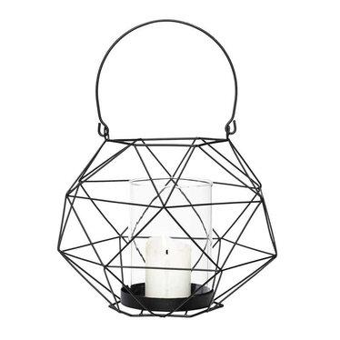 Hubsch Zwarte lantaarn van metaaldraad - 20x15 cm