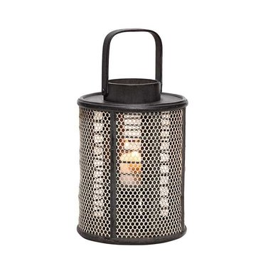 Hubsch Black wooden lantern with mesh