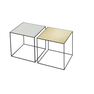 By Lassen Twin 35 table black base-messing-misty green