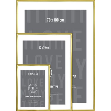 I Love My Type photo frame aluminum brass 70x100 cm