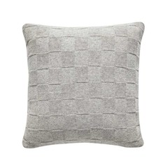 Hubsch wool pillow block pattern light gray