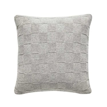 Hubsch Knitted lambswool cushion vapor pattern light gray