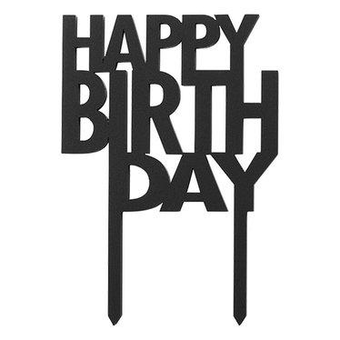 Felius taartsteker Happy Birthday zwart