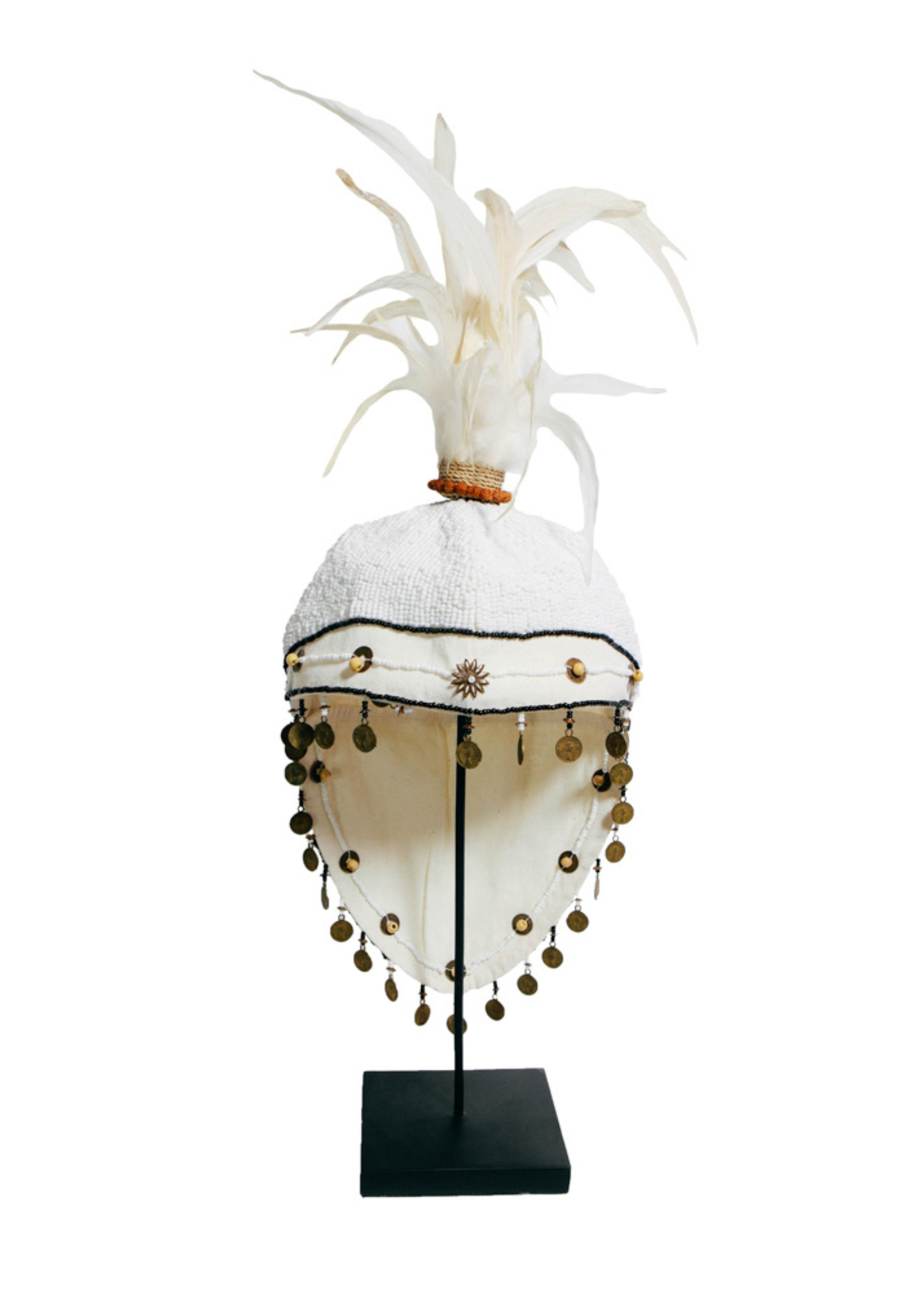 The Fully Beaded Hat on Stand - White
