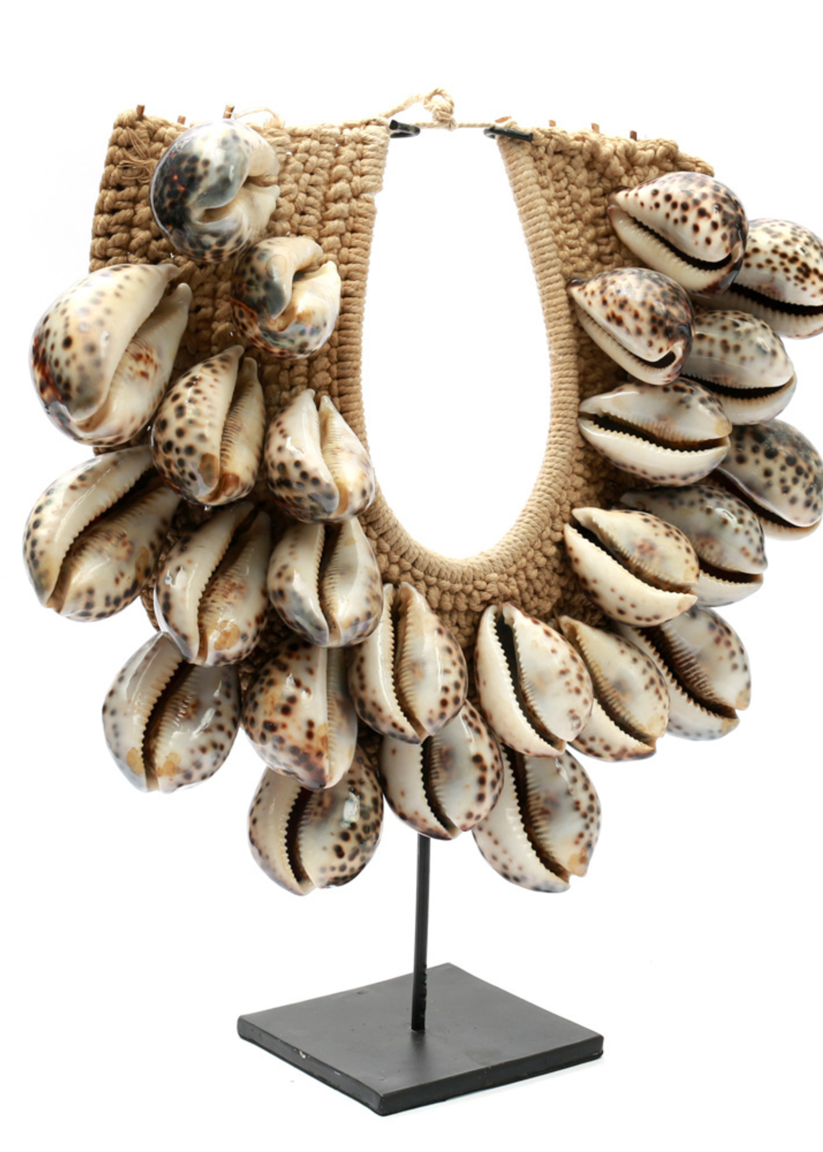 The Tiger Cowrie Necklace on Stand - Brown