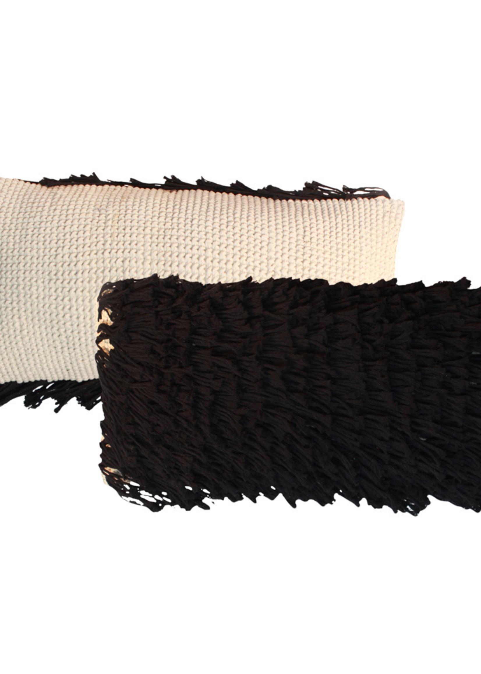 The Macrame Fringed Cushion - Natural Black