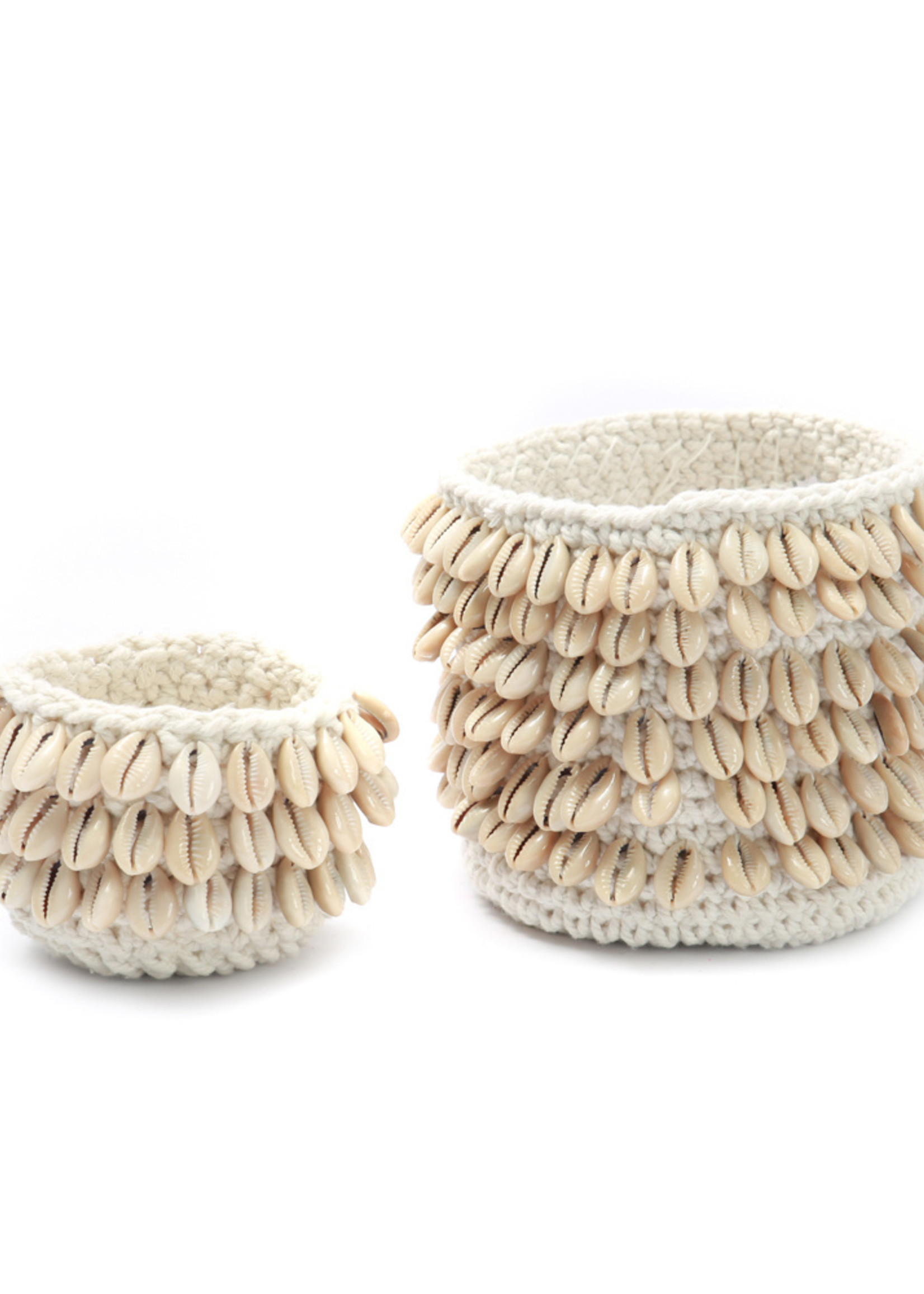 The Cowrie Macrame Candle Holder - Natural S