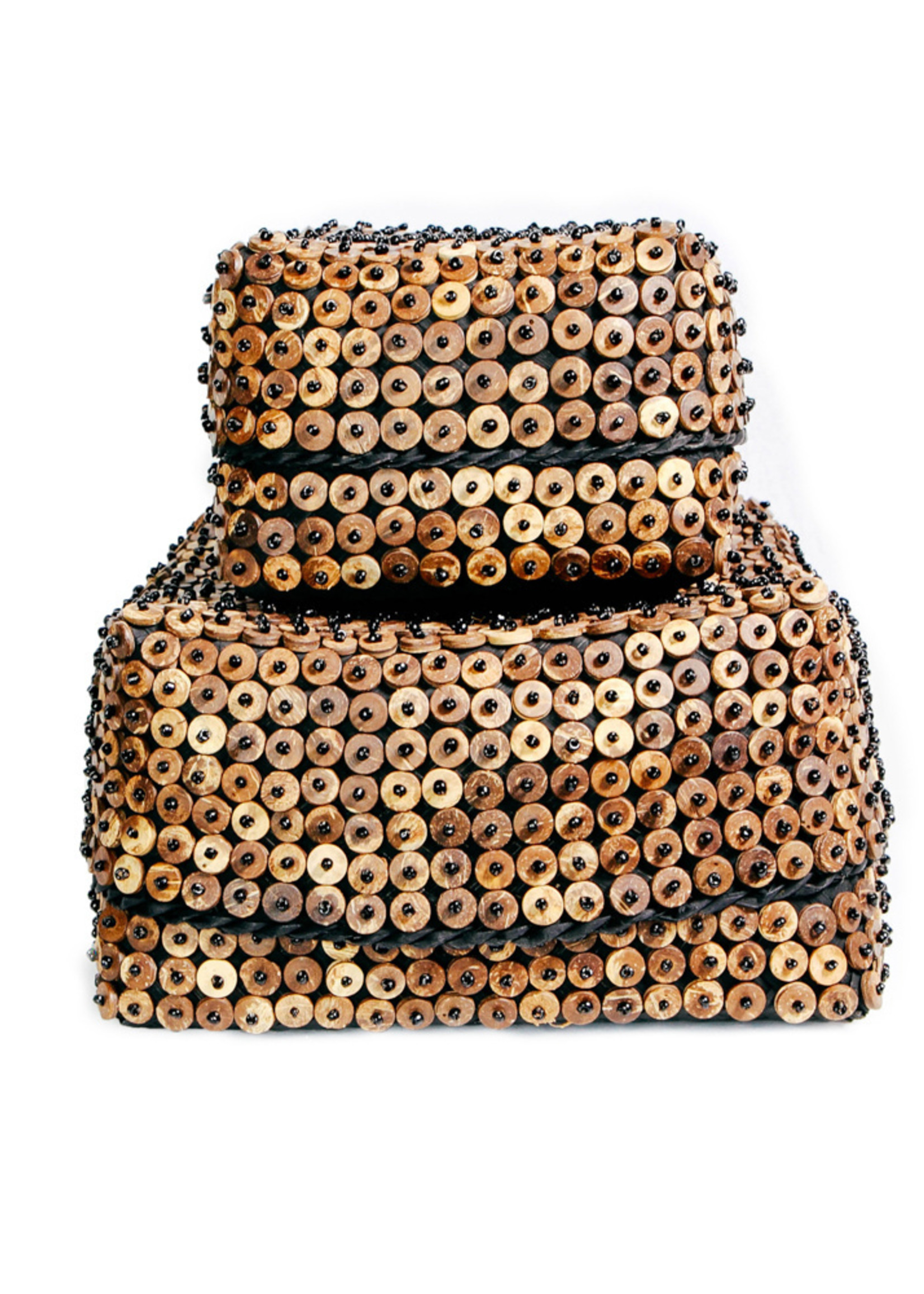 The Coconut Shell Square Basket - Brown - SET2