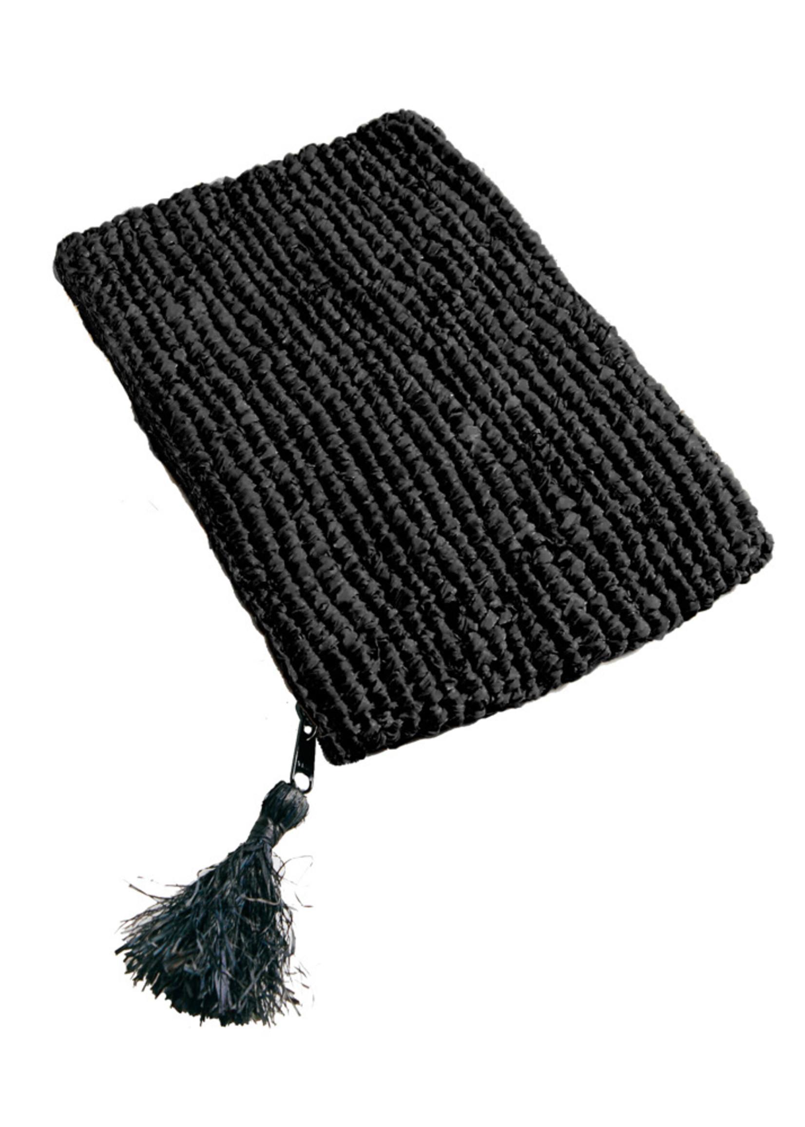 Raffia Clutch with zipper - Black Black - L
