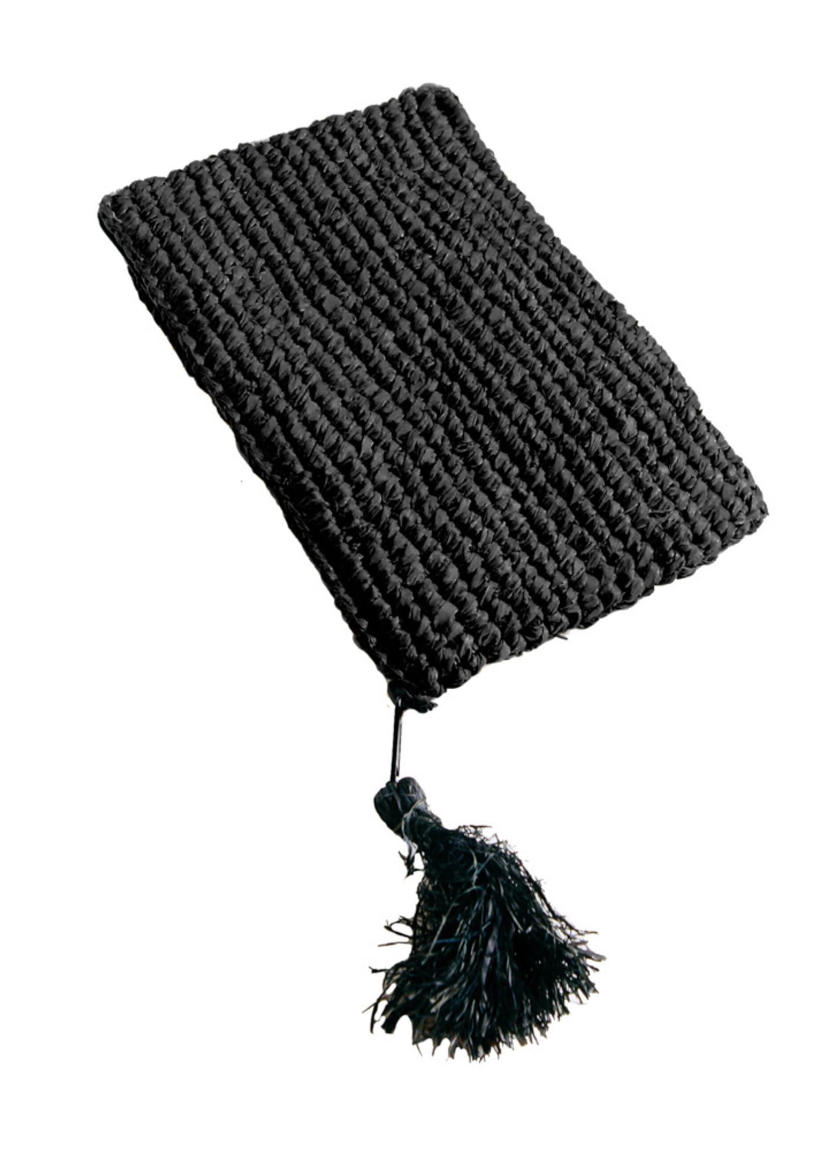 Raffia Clutch with zipper - Black Black - S