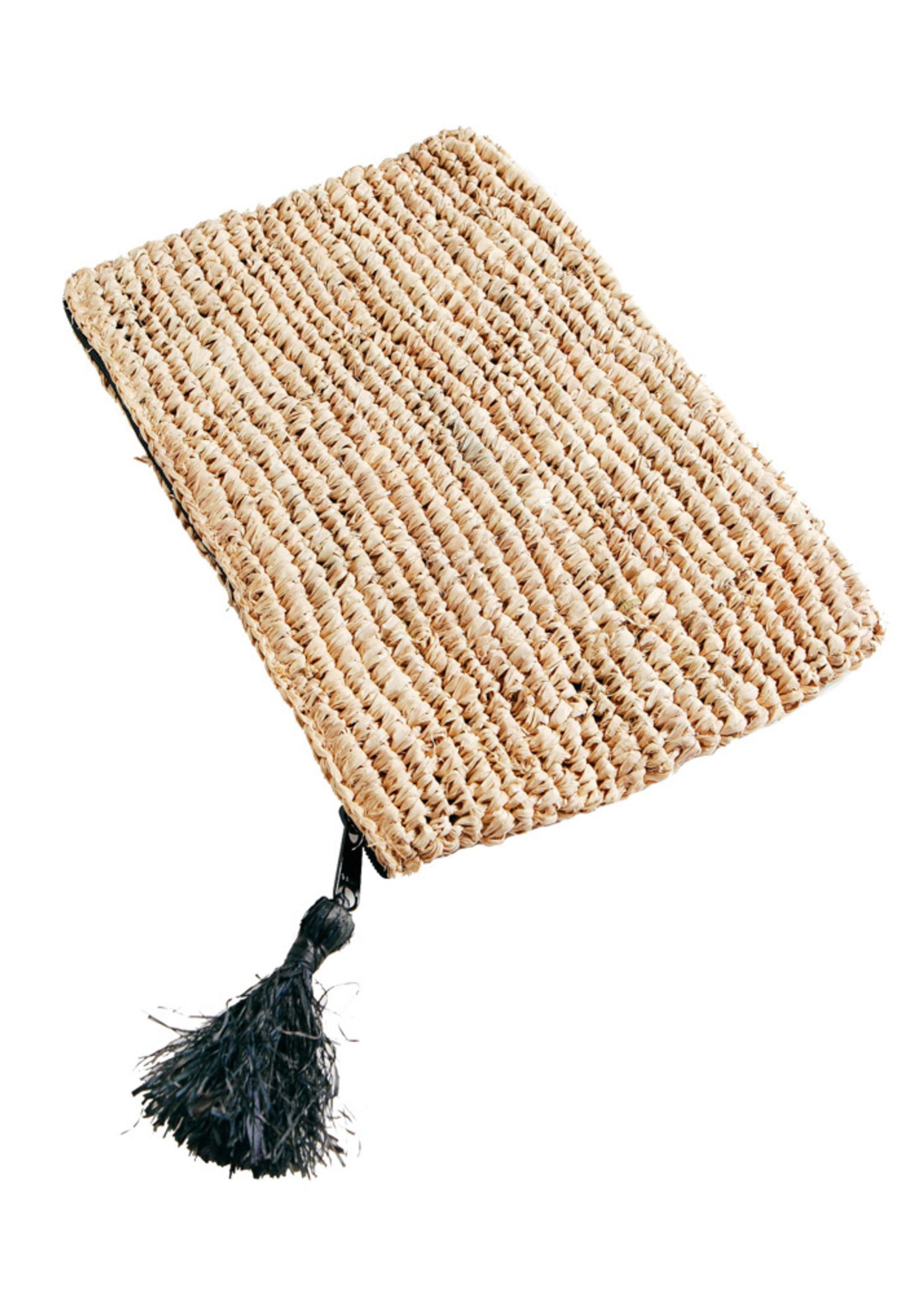 Raffia Clutch with zipper - Natural Black - L