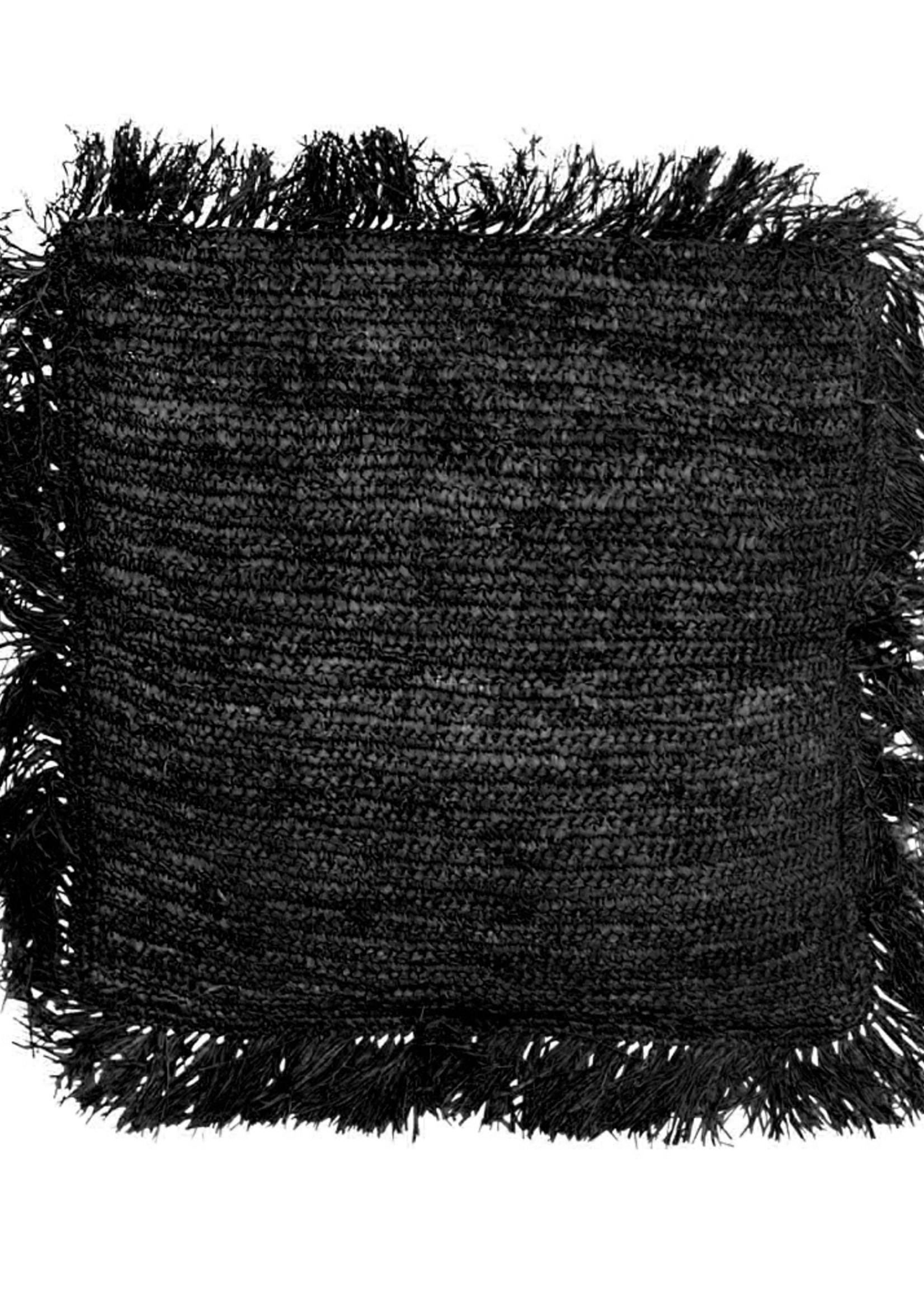 The Raffia Cushion Square - Black - L
