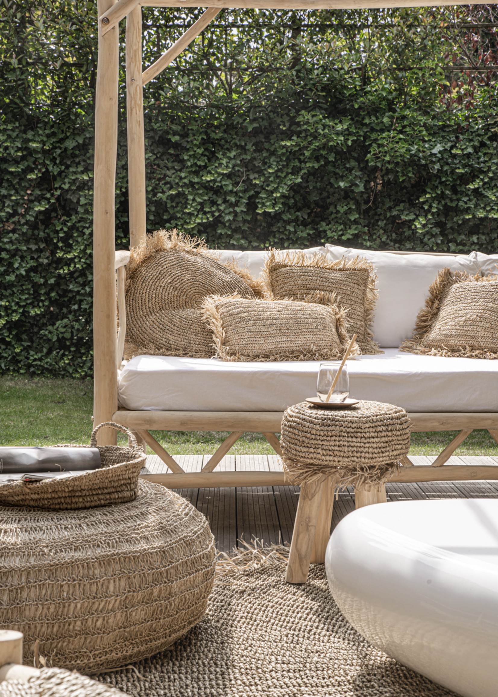 The Raffia Cushion Square - Natural - M