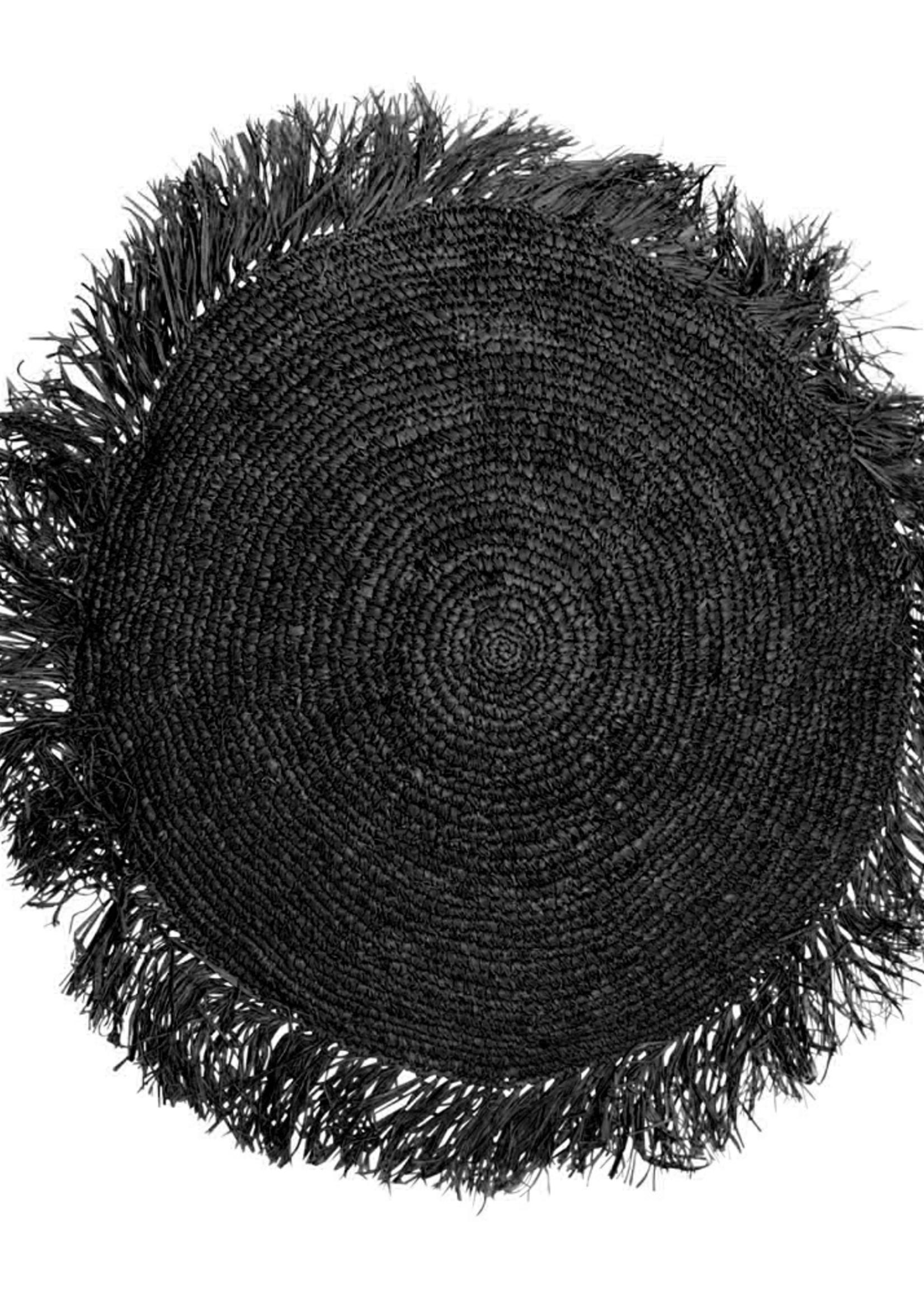 The Raffia Cushion Round - Black - L