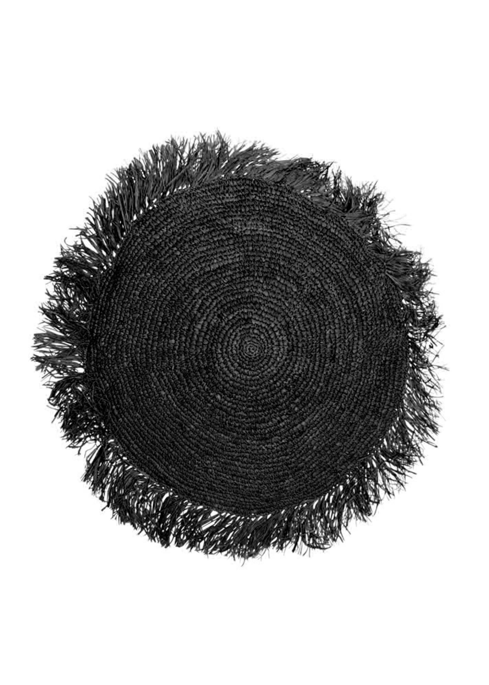 The Raffia Cushion Round - Black - M