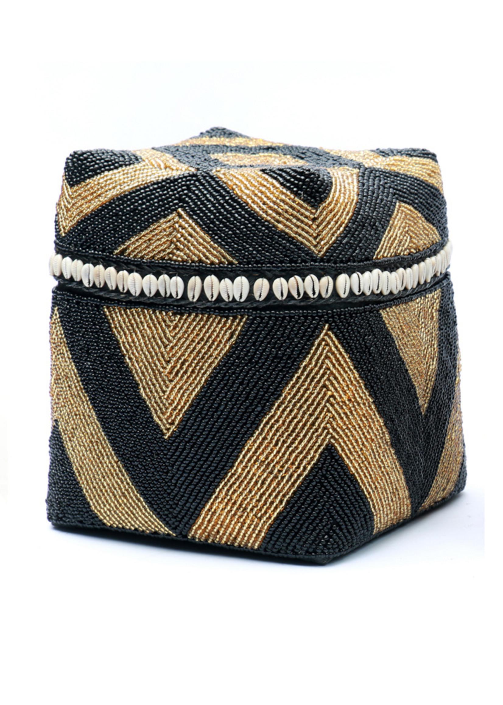 The Beaded Basket Cowrie Diamond High - Black Gold - L
