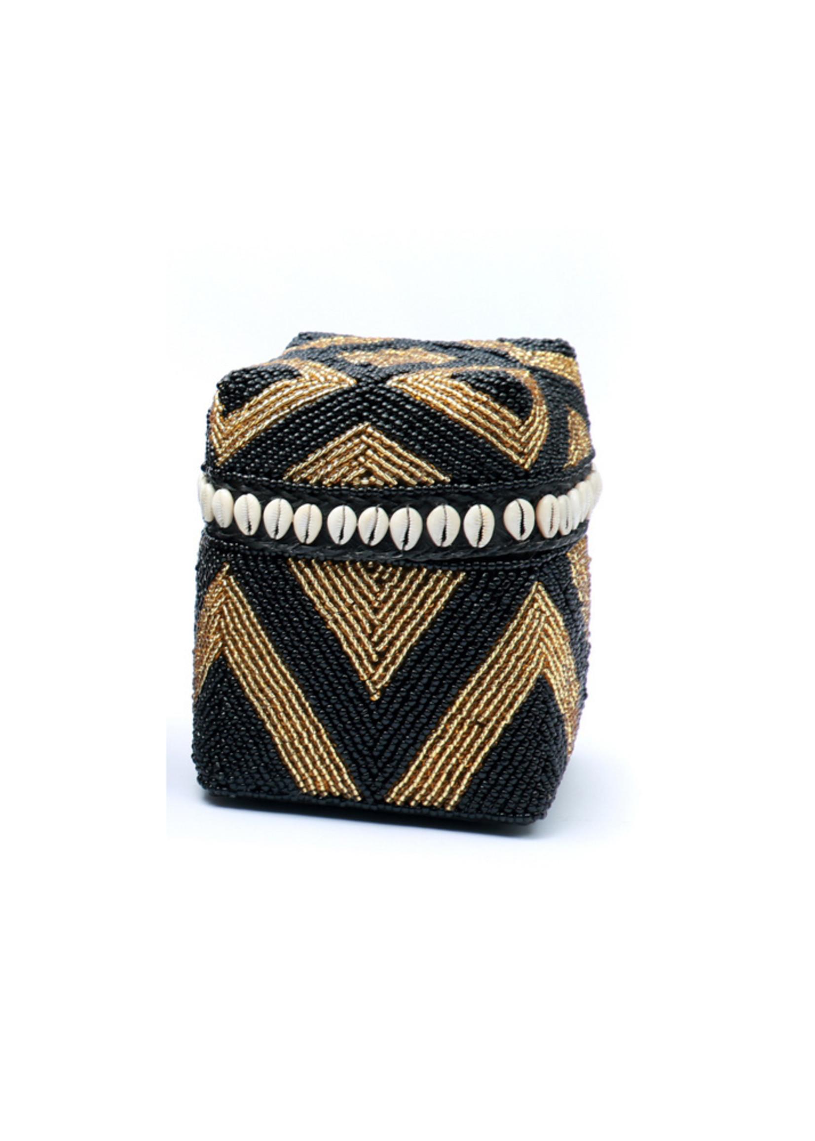The Beaded Basket Cowrie Diamond High - Black Gold - S