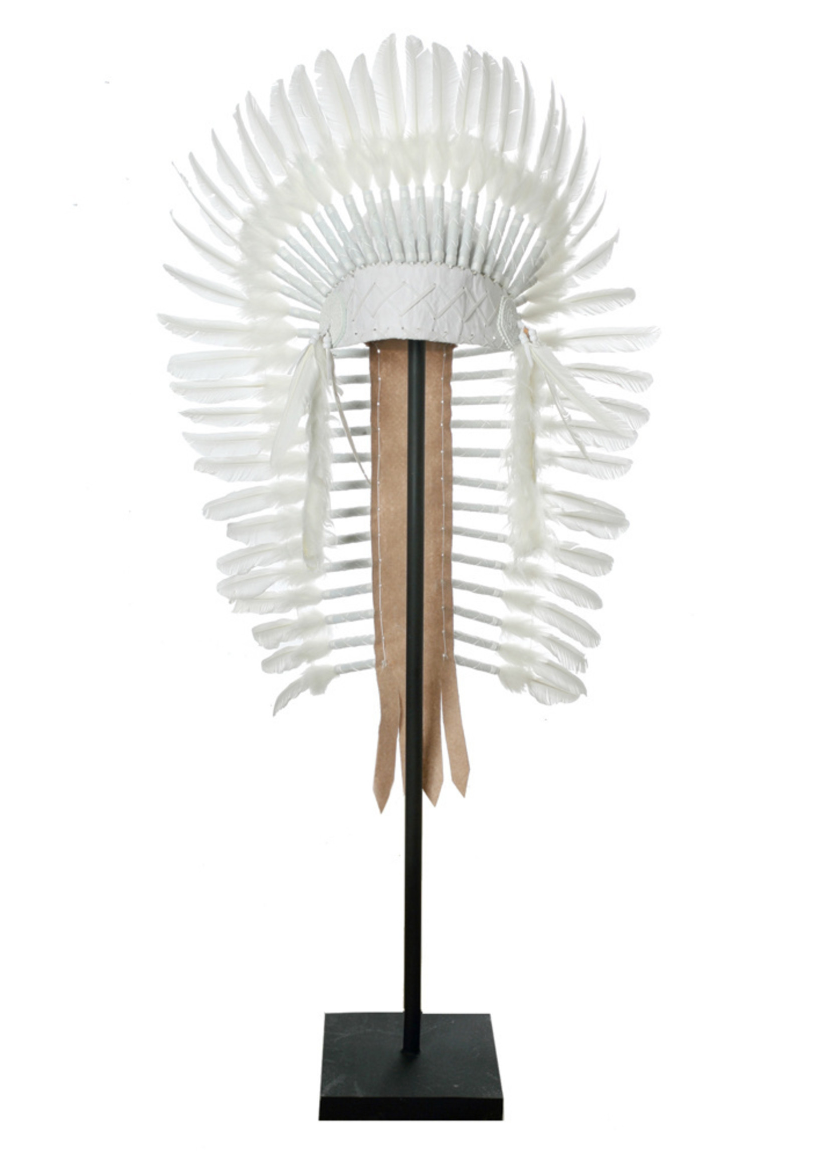 The Indian Headdress on Stand - White - XL