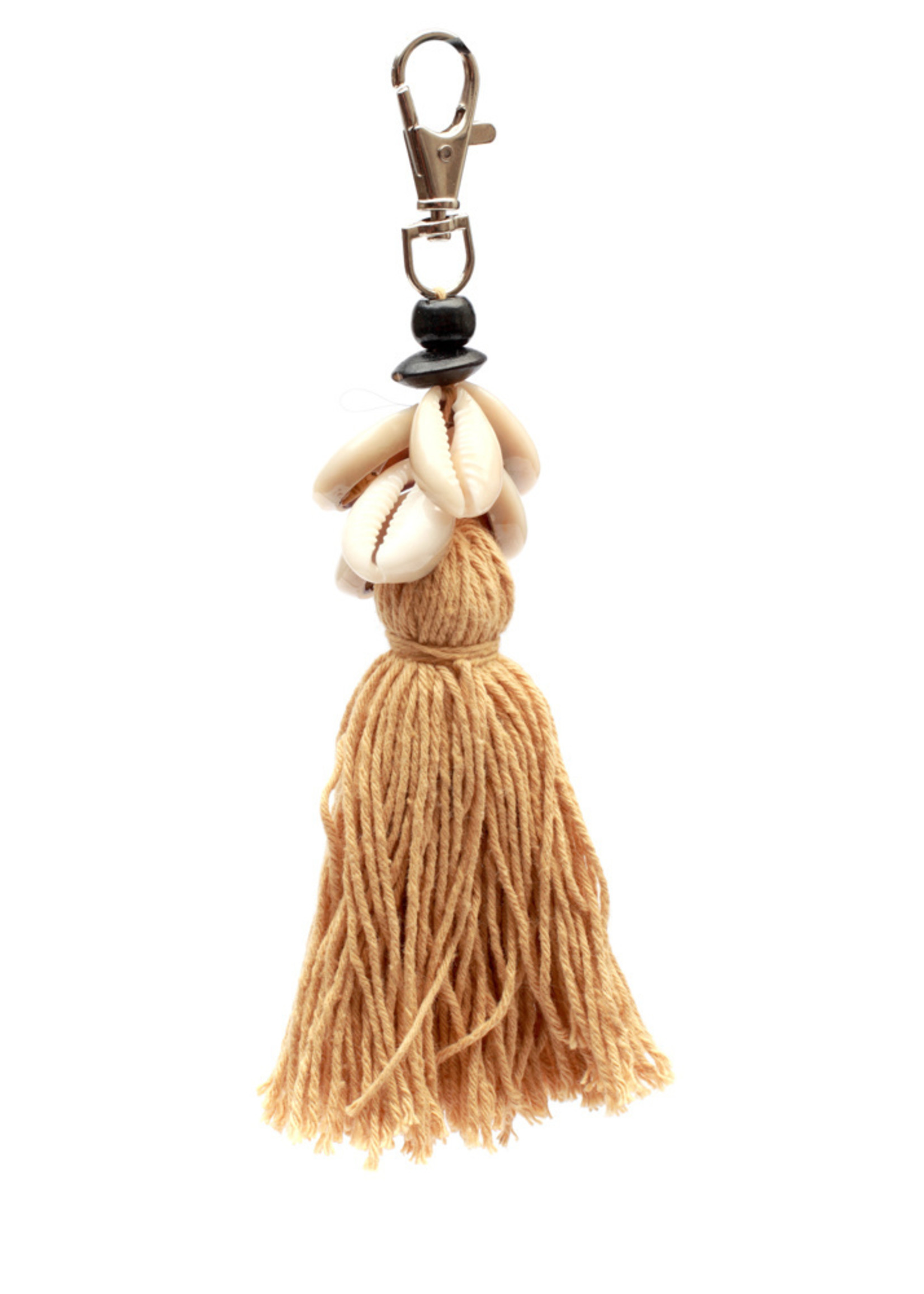 The Cowrie Tassel Keychain - Mocca