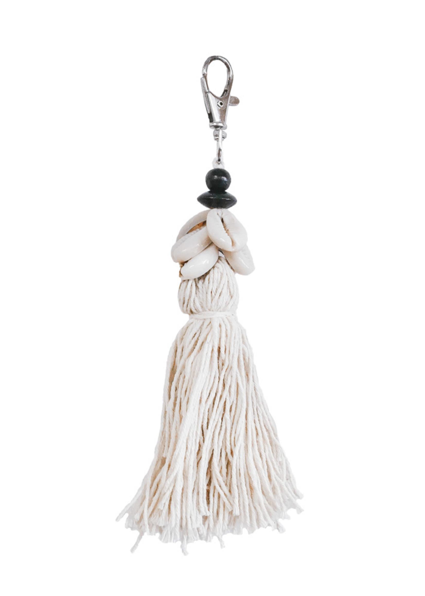 The Cowrie Tassel Keychain - White