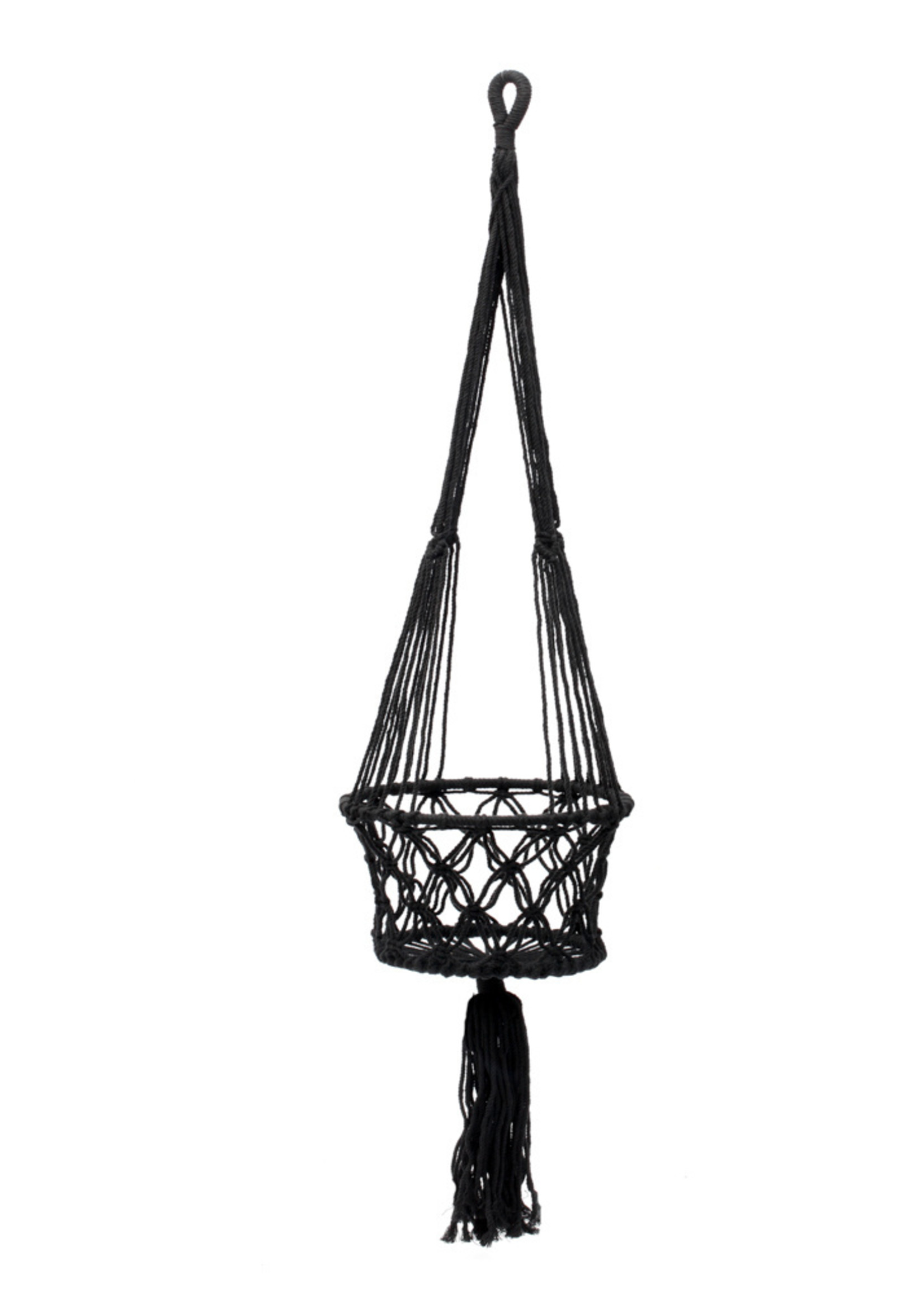 The Macrame Plant Holder - Black - L
