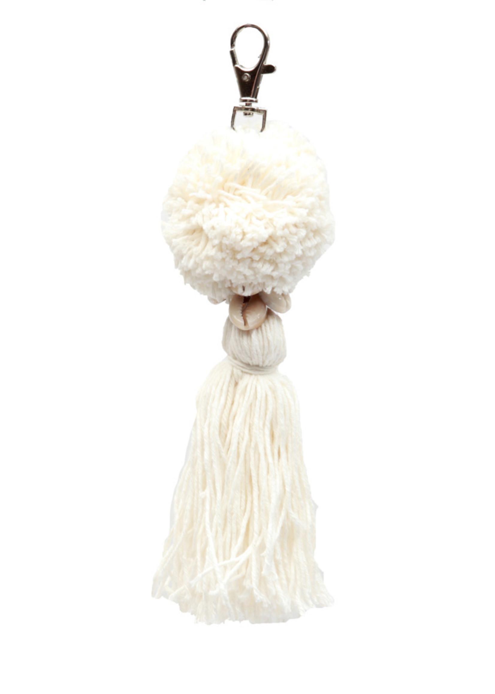 The Pompon Keychain - White