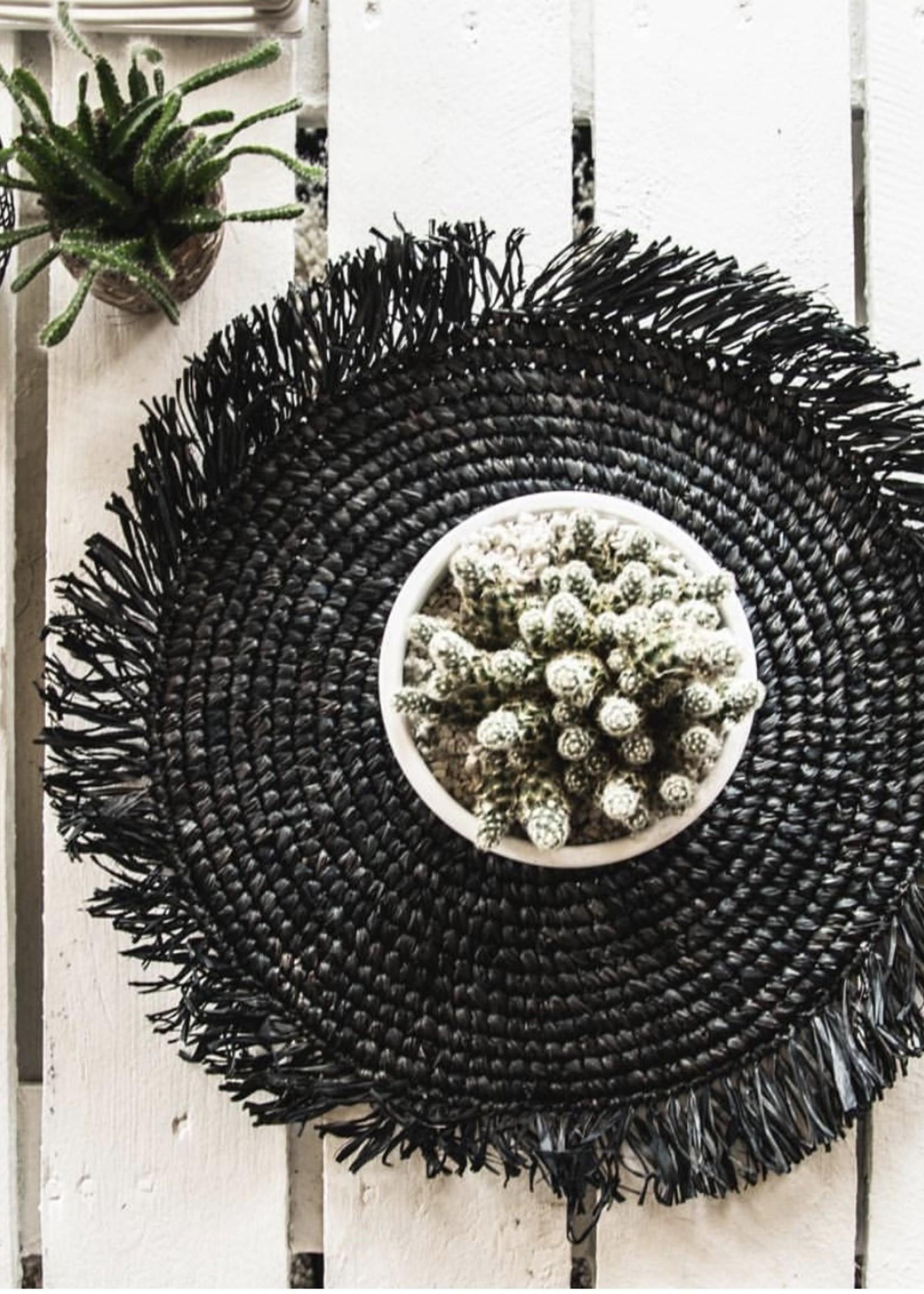 The Fringe Raffia Placemat Round - Black